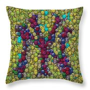 Smiley Face Yankees Mosaic Throw Pillow