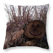 Smiley Log Throw Pillow