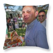 Smiling And Eating Throw Pillow
