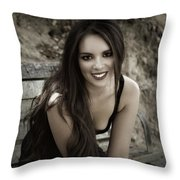 Smiling Beauty Throw Pillow