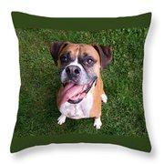 Smiling Boxer Dog Throw Pillow