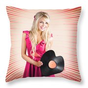 Smiling Dj Woman In Love With Retro Music Throw Pillow