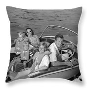 Smiling Family In Docked Boat, C.1960s Throw Pillow