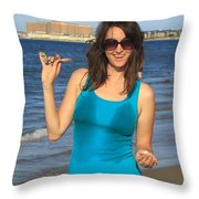 Smiling Hottie At The Beach Throw Pillow