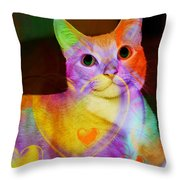 Smiling Kitty Throw Pillow