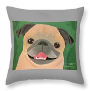 Smiling Senior Pug Throw Pillow