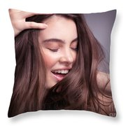 Smiling Young Woman With Long Brown Hair Throw Pillow