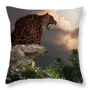 Smilodon Californicus Lookout Throw Pillow