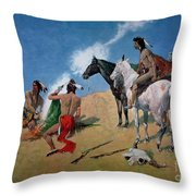 Smoke Signals Throw Pillow by Frederic Remington