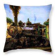 Smoke Stack Steam Train Throw Pillow