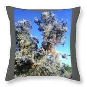 Smoke Tree In Bloom With Blue Purple Flowers Throw Pillow