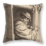 Smoker At A Window Throw Pillow