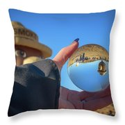 Smokey Bear Balloon In The Crystal Ball Throw Pillow