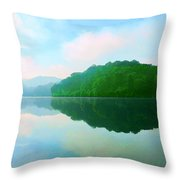 Smokey Mountain Lake Throw Pillow