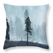 Smokey Trees Throw Pillow