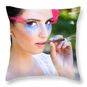 Smoking Glamour Throw Pillow