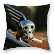 Smoking Skull Hood Ornament Throw Pillow