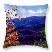 Smoky Mountain Autumn View Throw Pillow