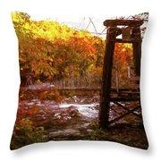 Smoky Mountain Suspension Bridge Oil Painting Throw Pillow
