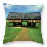 Smoky Mountains Cantilever Barn Throw Pillow