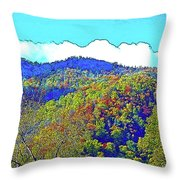 Smoky Mountains Scenery 6 With Sunny Day Filter Throw Pillow