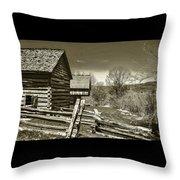 Smoky Mt Homestead - B W Throw Pillow