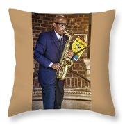 Smooth Sax Man Throw Pillow