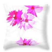 Smudged Floating Pink Flowers Throw Pillow