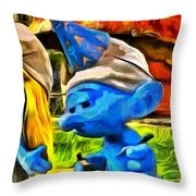 Smurfette And Friends - Pa Throw Pillow