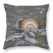 Snail In The Surf Throw Pillow