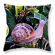 Snail On A Bush Version 2 Throw Pillow