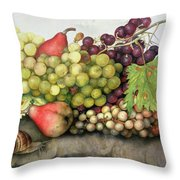 Snail With Grapes And Pears Throw Pillow