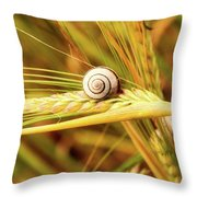 Snails On Wheat Throw Pillow