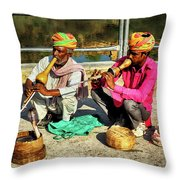 Snake Charmer And Apprentice Throw Pillow