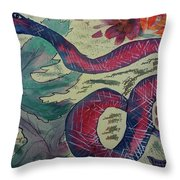 Snake In The Garden Throw Pillow