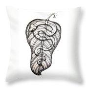 Snake On A Leaf Throw Pillow