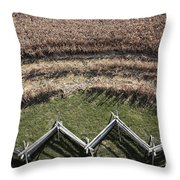 Snake-rail Fence And Cornfield Throw Pillow