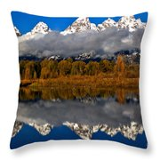 Snake River Fall Reflections Throw Pillow