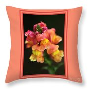 Snapdragon Flowers With Design Throw Pillow