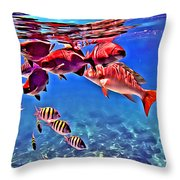 Snapper Feed Throw Pillow