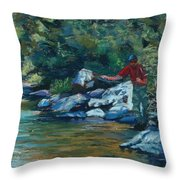 Sneaking Up On A Rainbow Throw Pillow by Mary Benke
