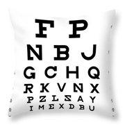 Snellen Chart - Full Alphabet Throw Pillow