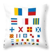 Snellen Chart - Nautical Flags Throw Pillow