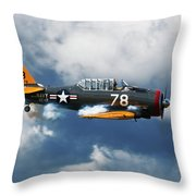 Snj-5  Texan T-6  Smoke On Throw Pillow