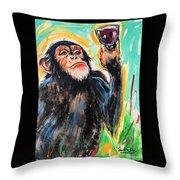 Snooty Monkey Throw Pillow