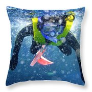 Snorkeling At The Great Barrier Reef Throw Pillow