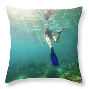 Snorkeling In Coral Reef Throw Pillow