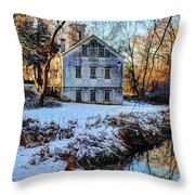 Snow Along Creek Throw Pillow
