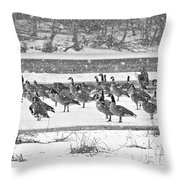 Snow And Geese On The River II Throw Pillow