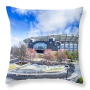 Snow And Ice Covered City And Streets Of Charlotte Nc Usa Throw Pillow